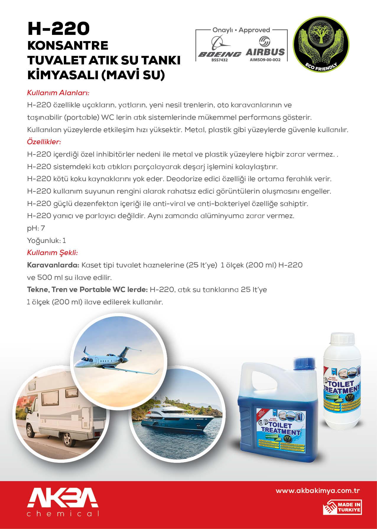 AKBA Kimya H-220 Konsantre Portatif Tuvalet Kimyasalı (Mavi Su) 1L
